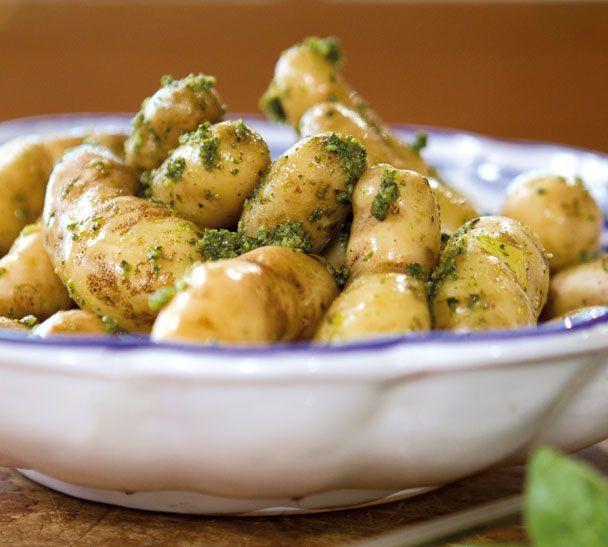 New Potato Recipe  Annabel Langbein New Potatoes with Hazelnut Pesto hero