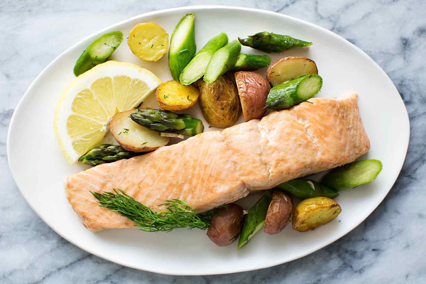 New Potato Recipe  Oven Roasted Salmon Asparagus and New Potatoes Recipe