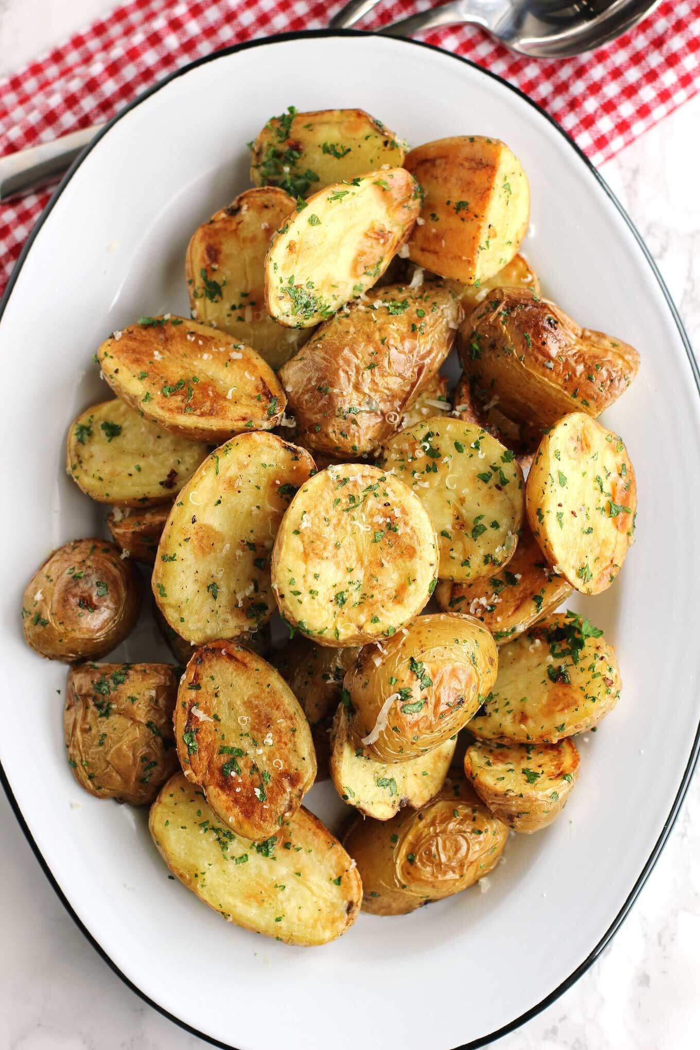 New Potato Recipe  Roasted New Potatoes With Parmesan And Fresh Herbs Green
