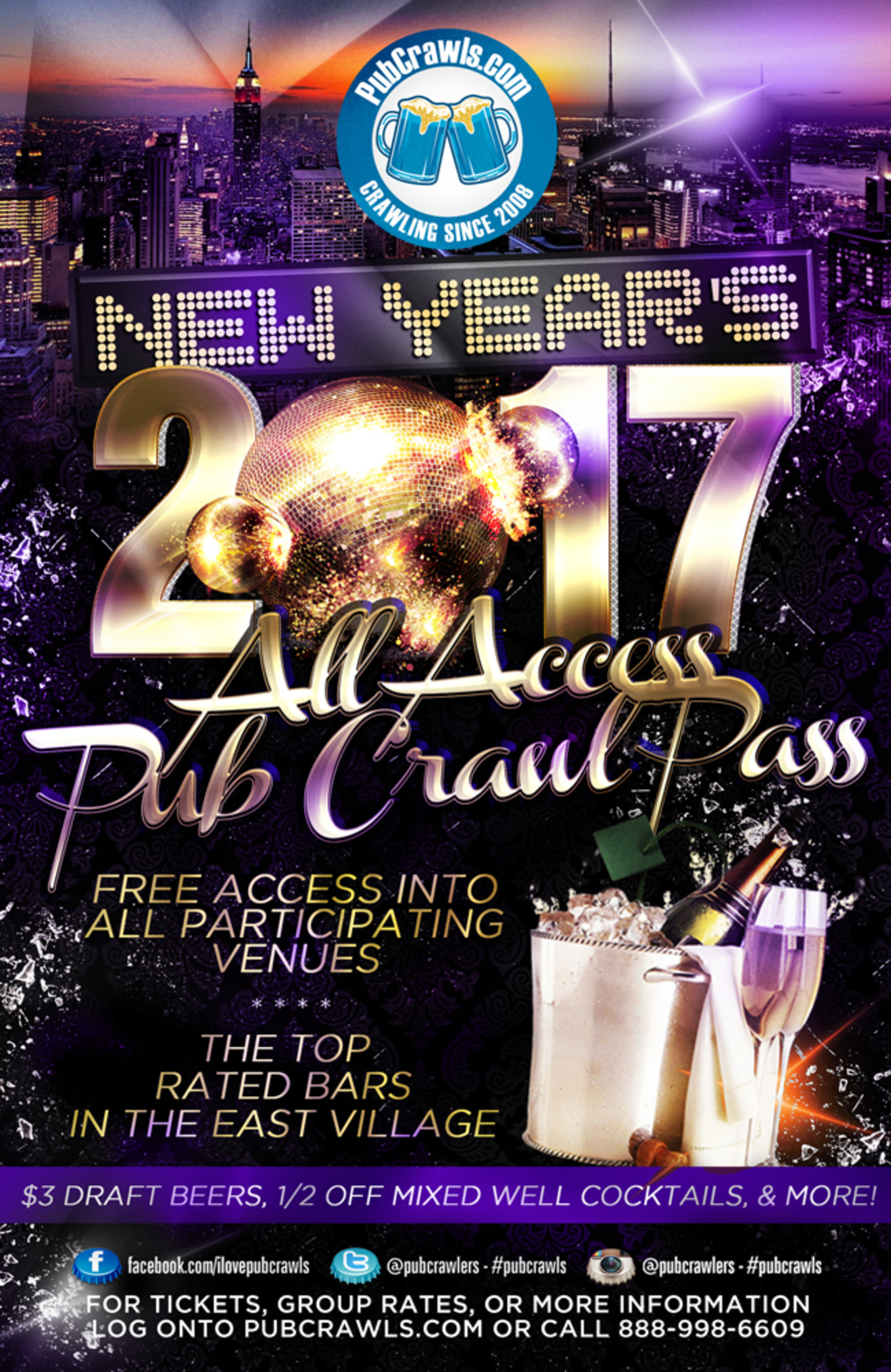 New Year'S Eve Dinner Nyc 2018  NYC All Access Pub Crawl Pass New Year s Eve 2017