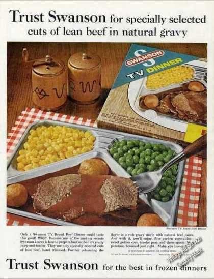 Old Frozen Dinner Brands  Swanson Frozen Dinners beef Food 1962