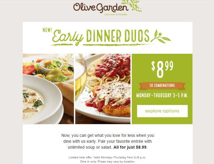 Olive Garden Early Dinner Duos  OLIVE GARDEN Early Dinner Duos ONLY $8 99 50