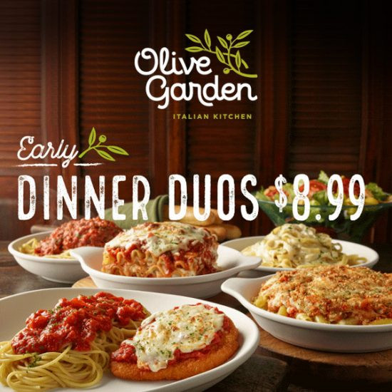 Olive Garden Early Dinner Duos  Early Dinner Duos for $8 99 Senior Discounts Club