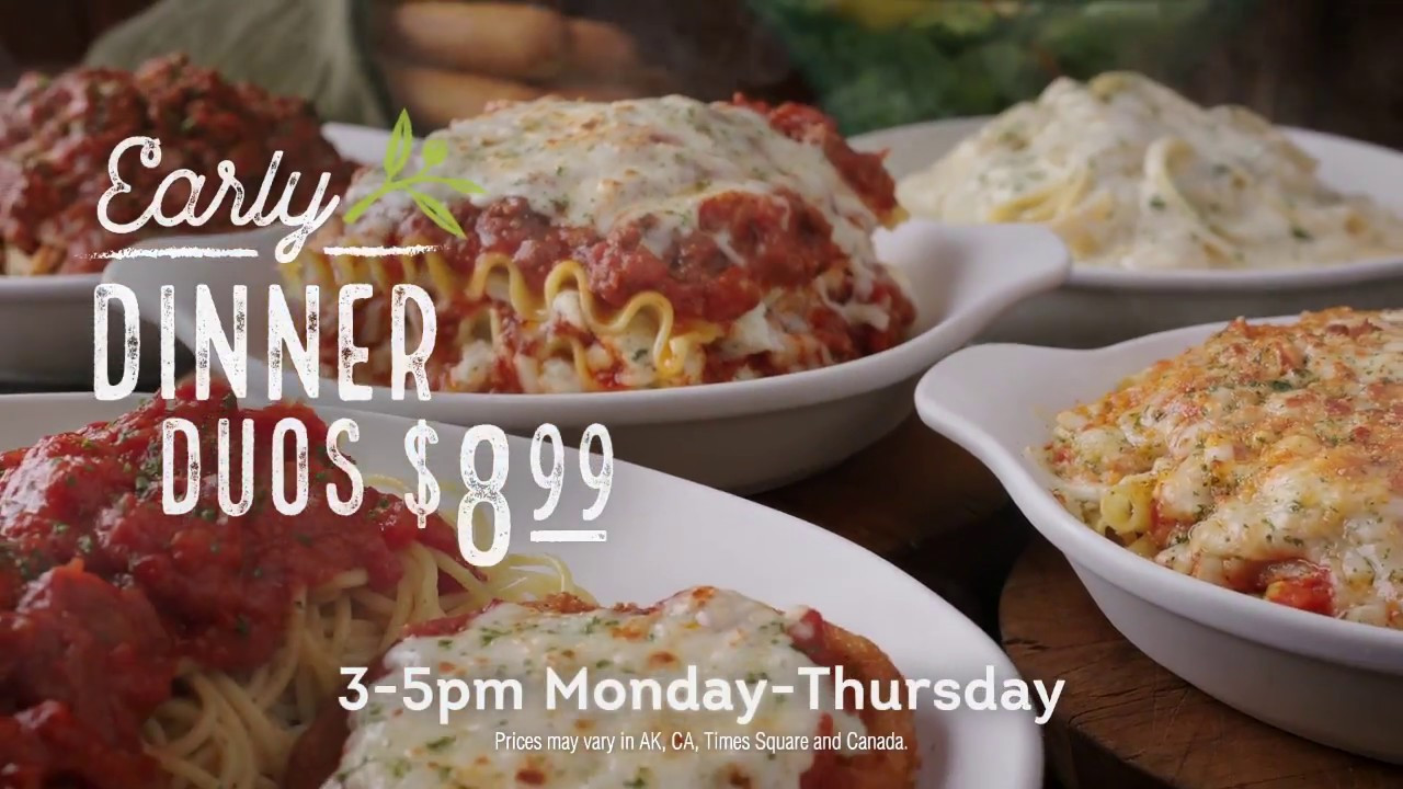 Olive Garden Early Dinner Special  Early Dinner Duos at Olive Garden