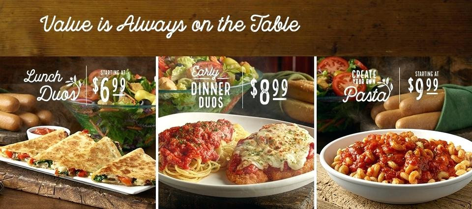 Olive Garden Early Dinner Special  Olive Garden Hickory Nc Over binations From Lunch To