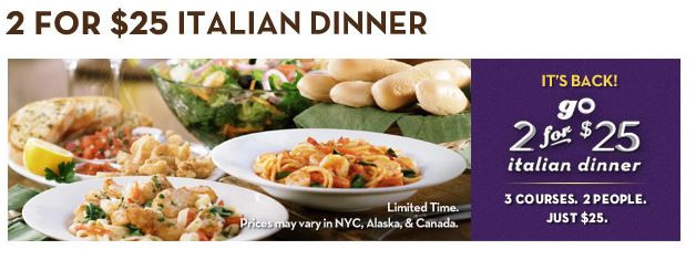 Olive Garden Early Dinner Special  3 Princes And A Princess 2 Lunch Dinner Promotions At