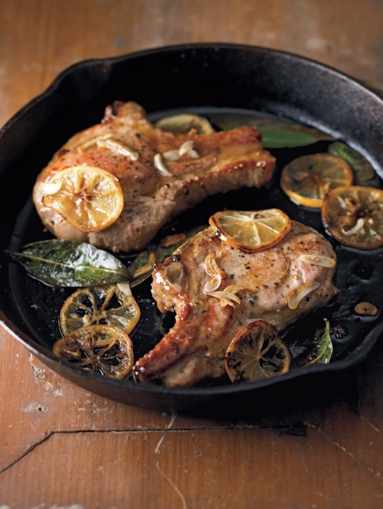 Pan Seared Pork Chops  Pan Seared Pork Chops with Meyer Lemon