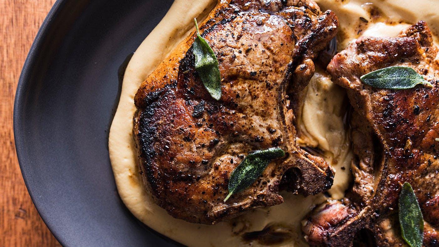 Pan Seared Pork Chops  Recipe Pan Seared Pork Chops with Parsnip Apple Purée