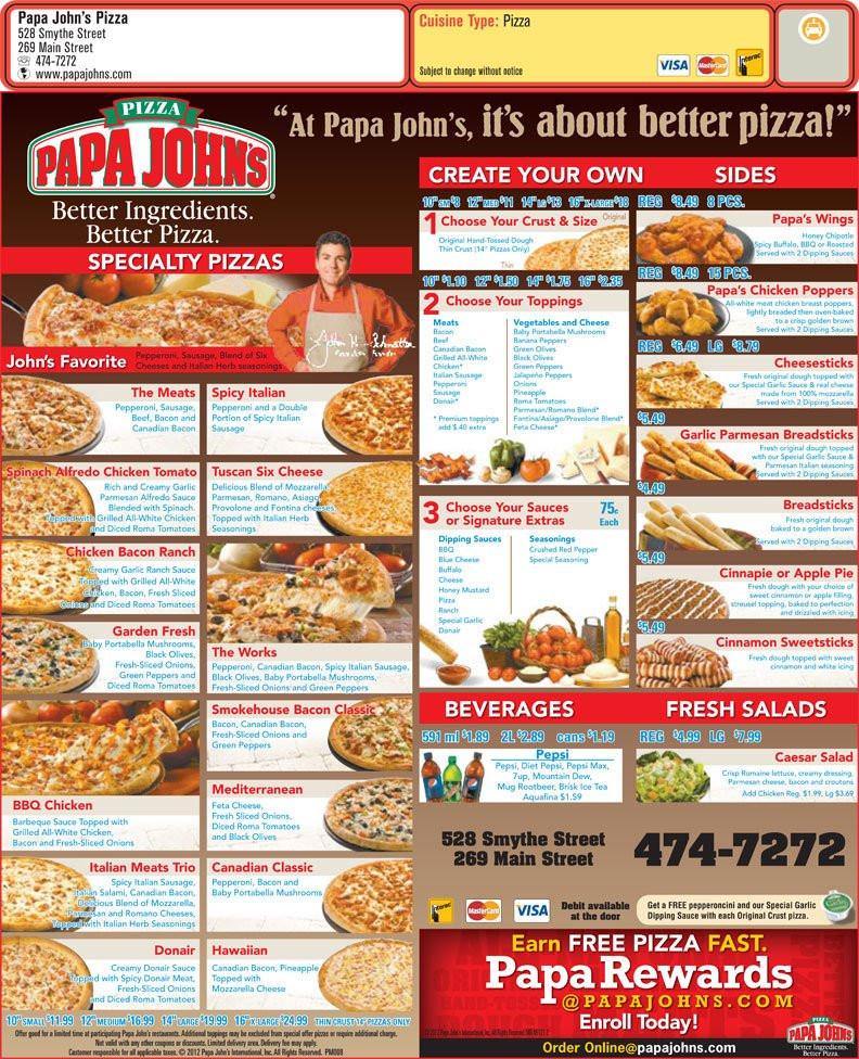 Papa Johns Desserts Menu  Papa John s Pizza Fredericton NB 528 Smythe St