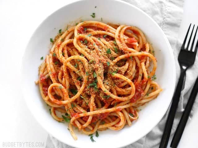 Pasta With Tomato Sauce  Pasta with 5 Ingre nt Butter Tomato Sauce Bud Bytes