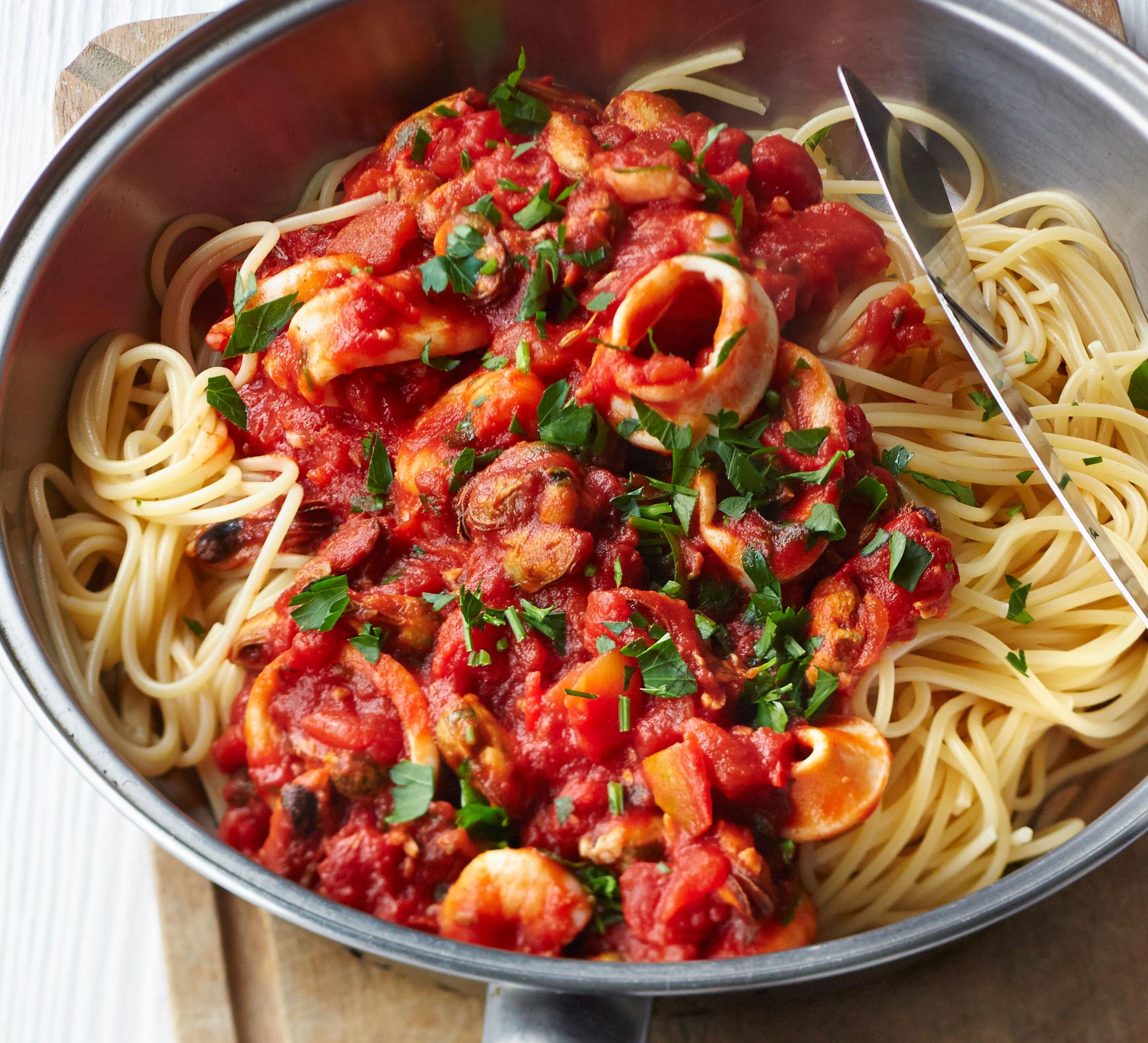 Pasta With Tomato Sauce  Spaghetti with smoky tomato & seafood sauce