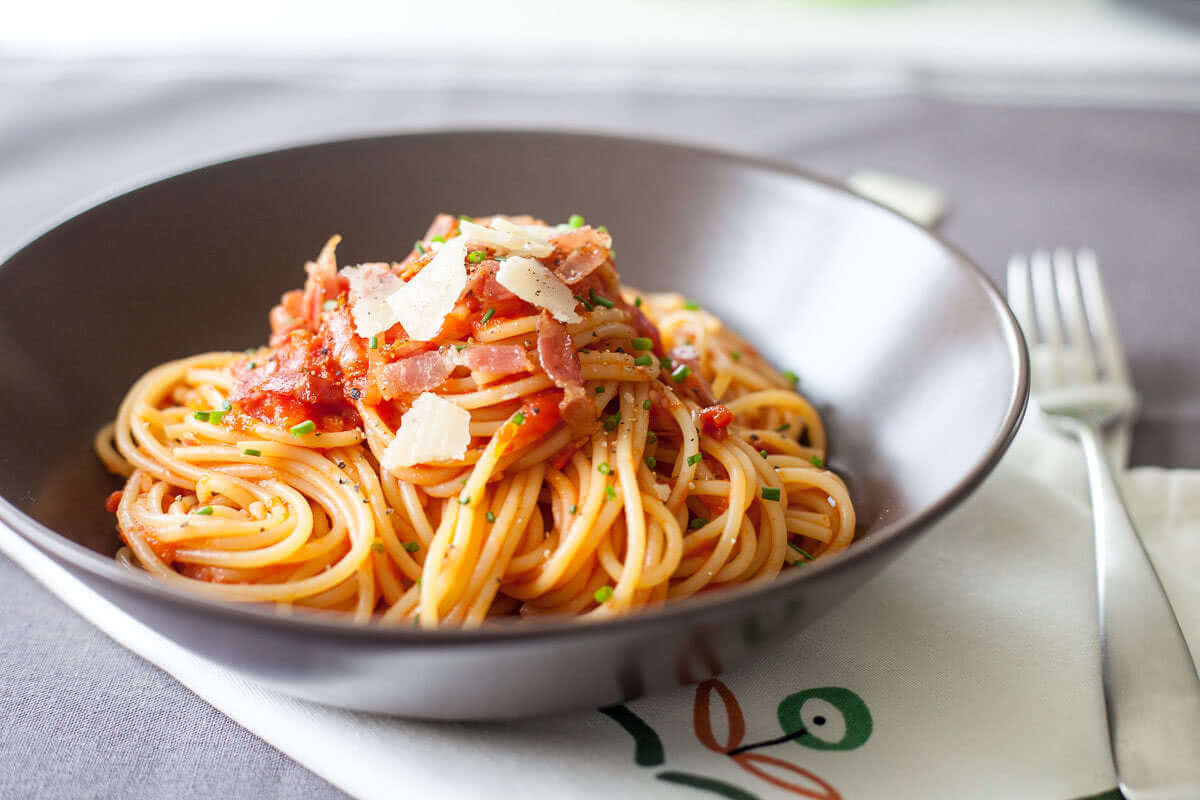 Pasta With Tomato Sauce  Spaghetti in Tomato Sauce with Bacon Vibrant Plate