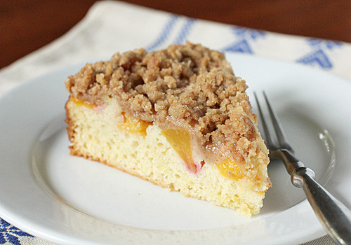Peach Coffee Cake  The Galley Gourmet Peach Streusel Coffee Cake