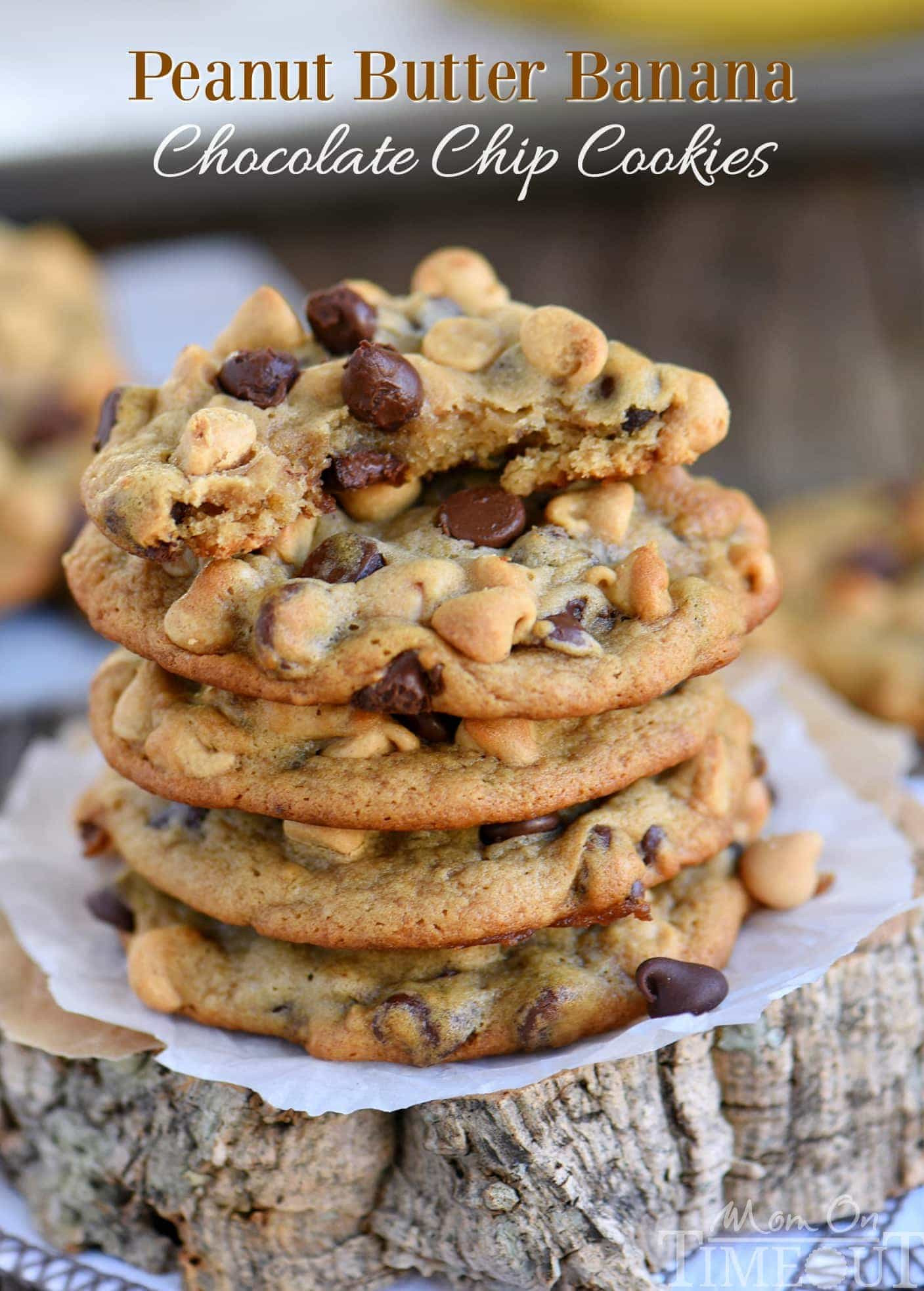 Peanut Butter Banana Cookies  Peanut Butter Banana Chocolate Chip Cookies Mom Timeout