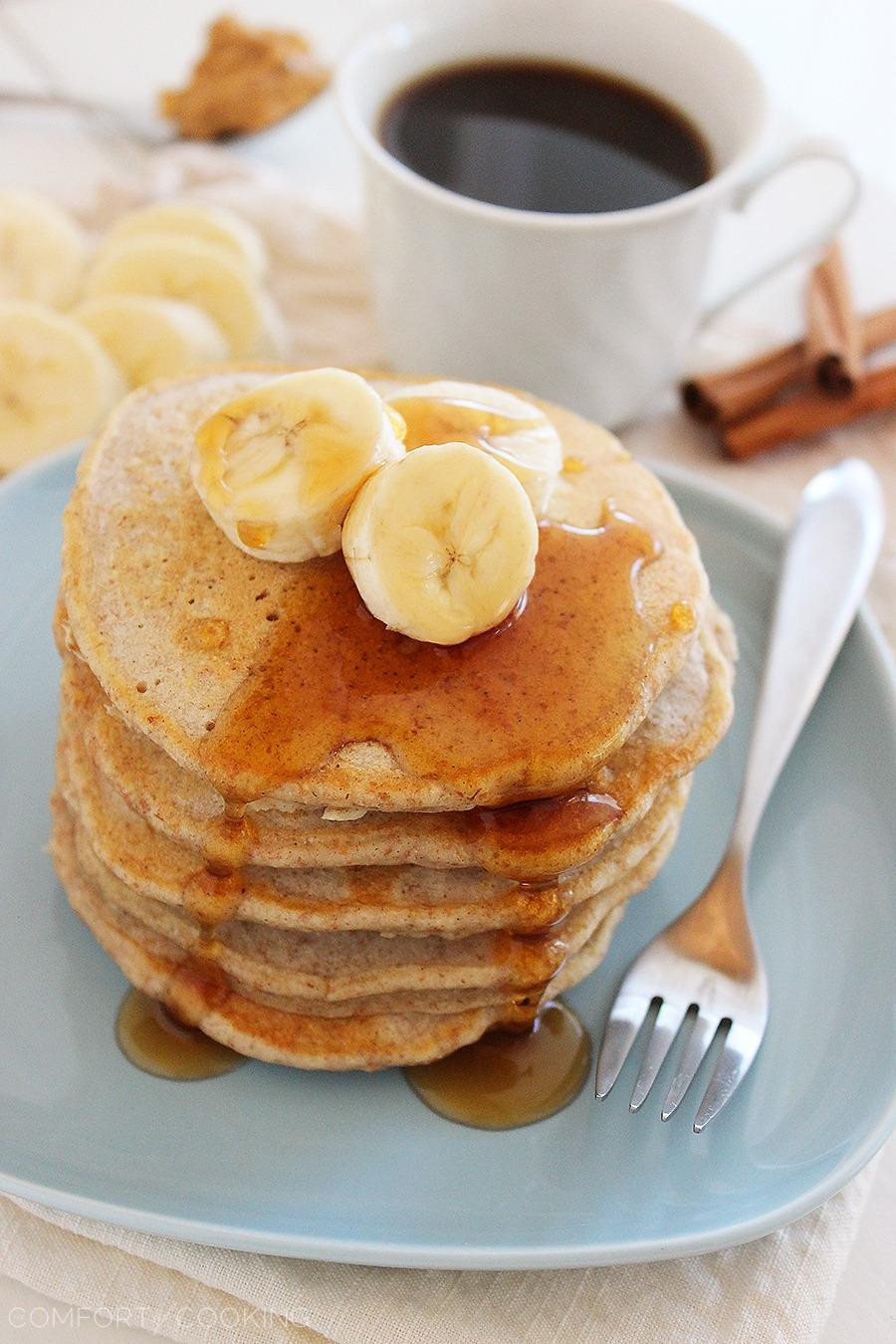 Peanut Butter Banana Pancakes  Whole Wheat Peanut Butter Banana Pancakes