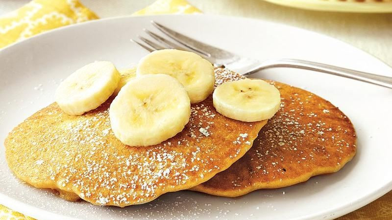 Peanut Butter Banana Pancakes  Peanut Butter Banana Pancakes recipe from Betty Crocker
