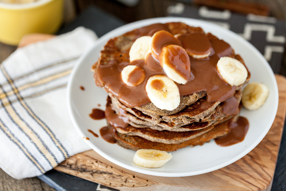 Peanut Butter Banana Pancakes  Peanut Butter Banana Pancakes with Salted Chocolate