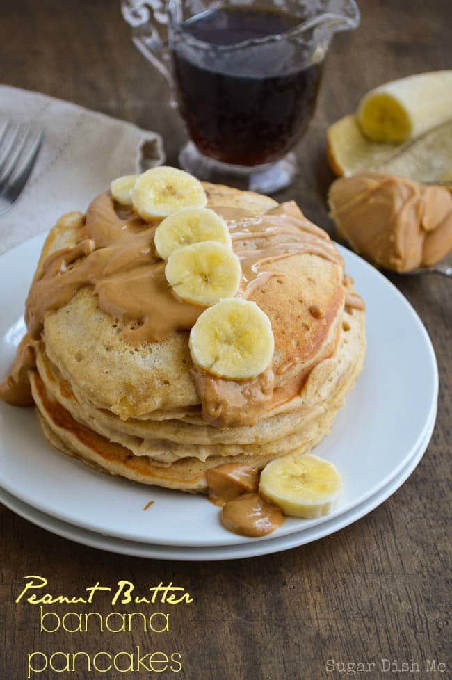 Peanut Butter Banana Pancakes  Peanut Butter Banana Whole Wheat Pancakes Sugar Dish Me