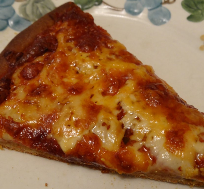 Pepperoni Pizza Slice  Pepperoni pizza with soaked whole wheat crust