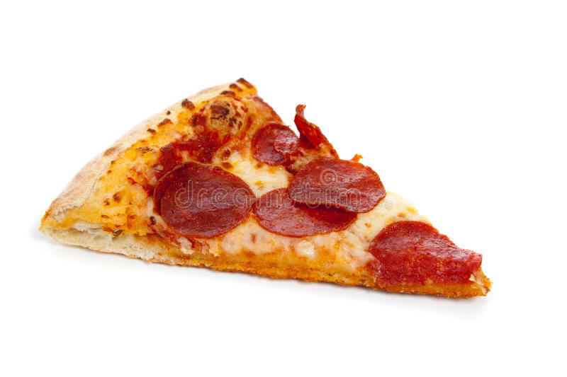 Pepperoni Pizza Slice  A Slice Pepperoni Pizza White Stock Image of