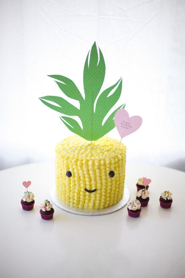 Pineapple Shaped Cake  Happy Chappy Pineapple Cake With Rainbow Cake Layers