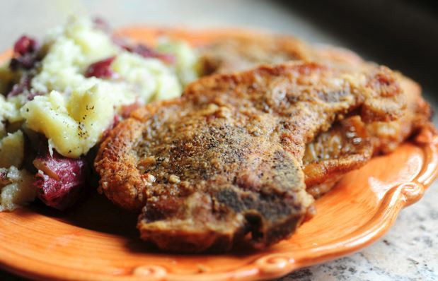 Pioneer Woman Pork Chops  Pan Fried Pork Chops and Smashed Red Potatoes