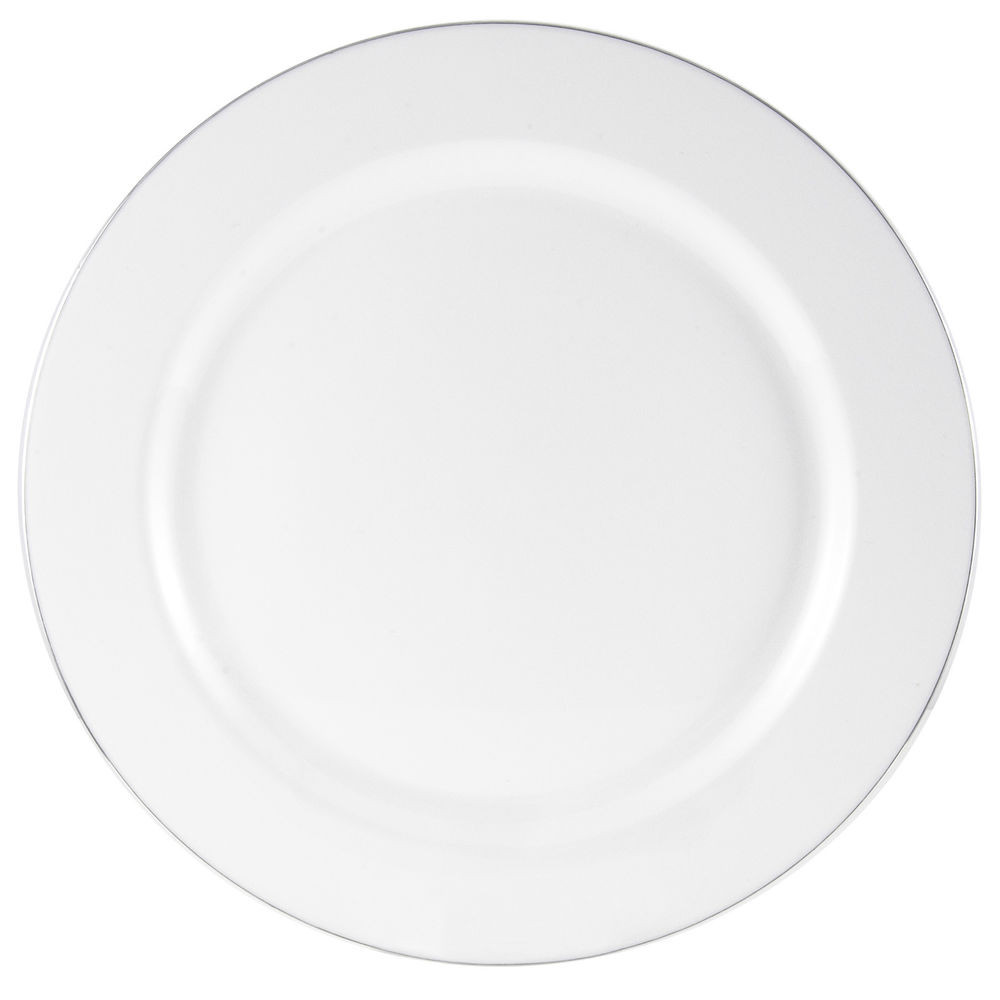 "Plastic Dinner Plates  160 x 10"" 25cm White Plastic Dinner Plates With Silver Rim"