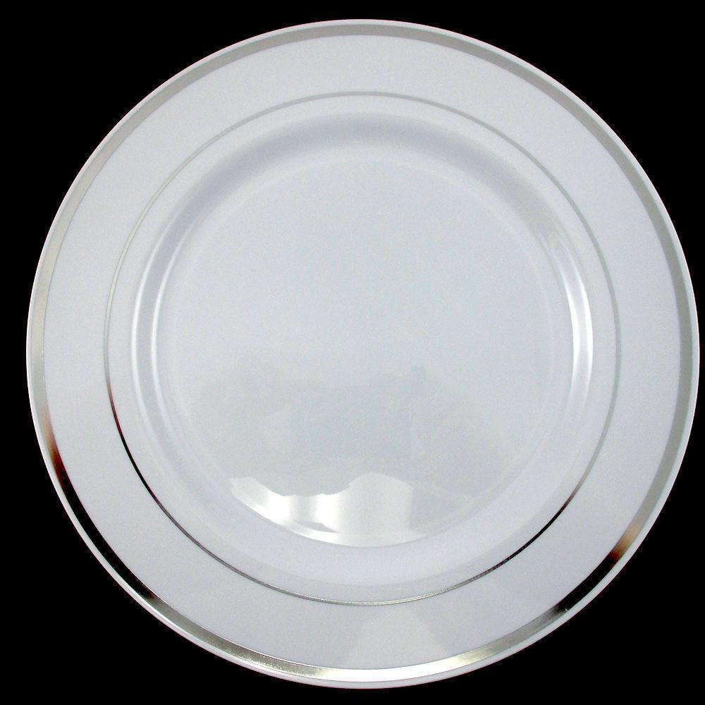 Plastic Dinner Plates  Dinner Wedding Party Disposable Plastic Plates white