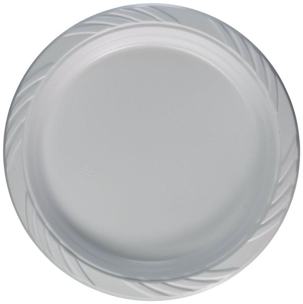 "Plastic Dinner Plates  9"" White Plastic Disposable Party Plates 100 pcs Dinner"