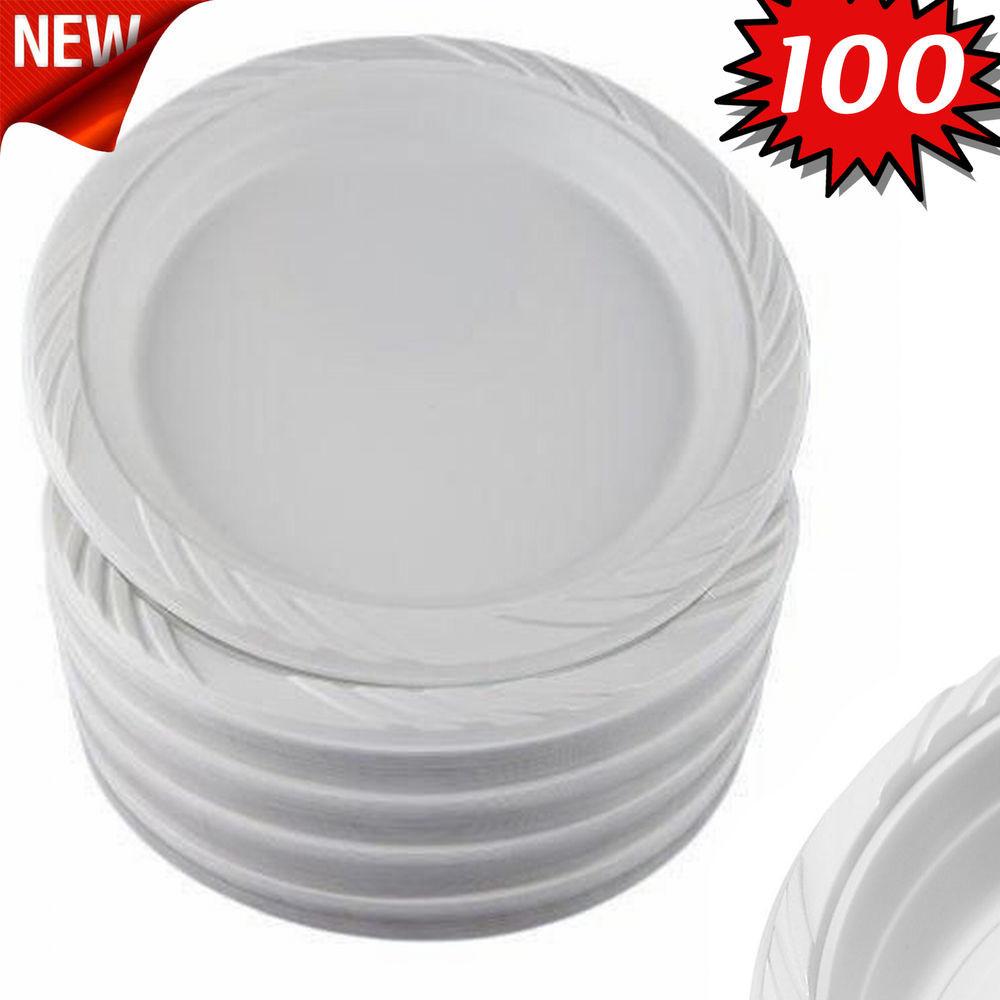 "Plastic Dinner Plates  100 White 9"" Plastic Party Plates Disposable Dinner"