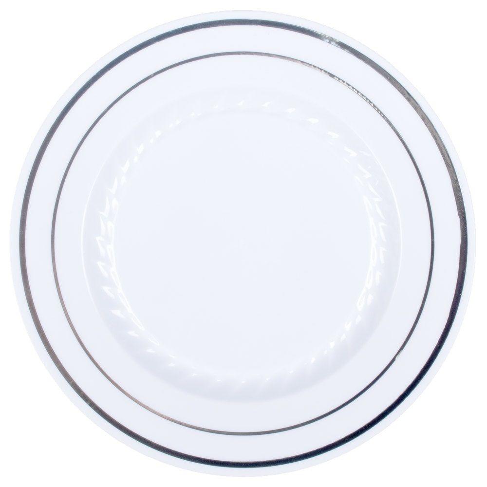 "Plastic Dinner Plates  9"" Premium Heavy Duty Plastic Dinner Plates White with"