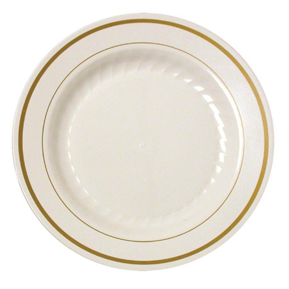 """Plastic Dinner Plates  Silver Splendor 10 1 4""""Ivory Dinner Plastic Plates w Gold"""