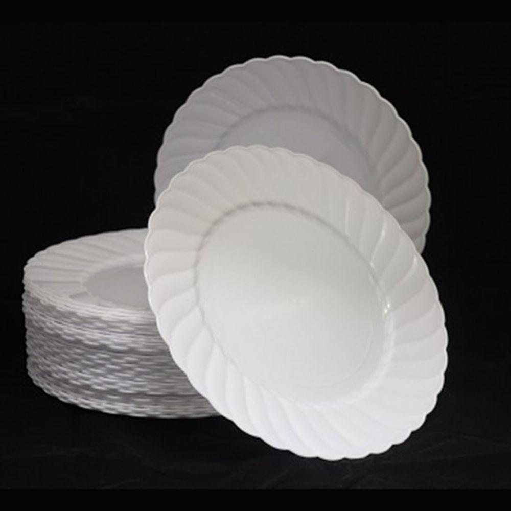 """Plastic Dinner Plates  54 x 9"""" 23cm White Dinner Plates Strong Heavy Duty"""