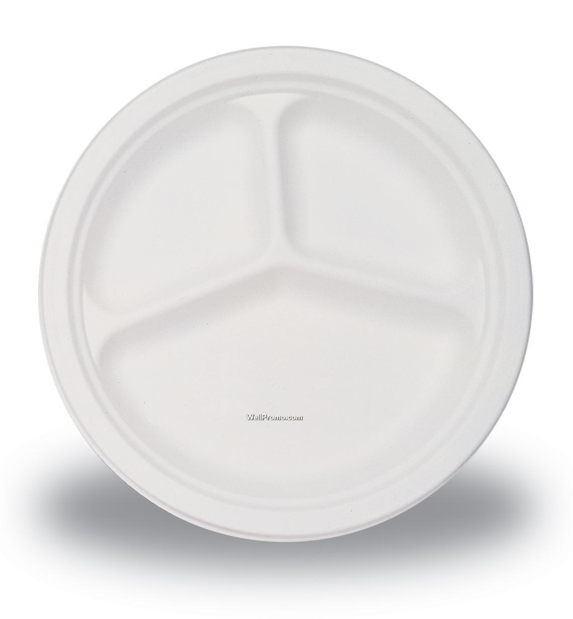 Plastic Dinner Plates  3 Section 10 White Plastic Plates 26cm Pack of 50 UK
