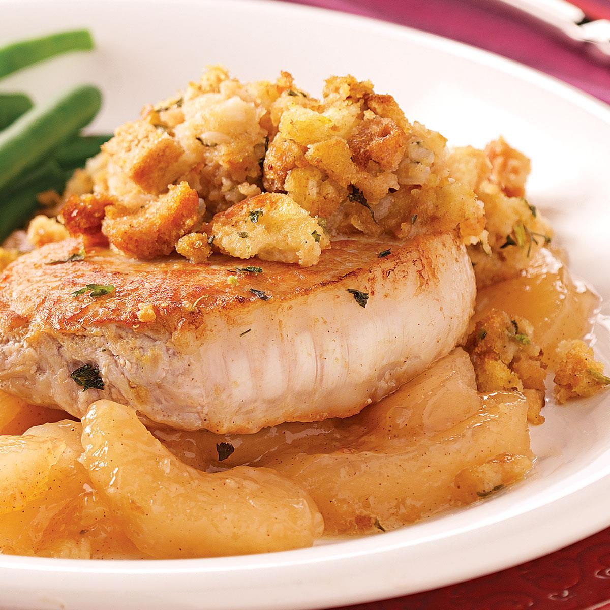 Pork Chops And Apples  Pork Chops with Apples and Stuffing Recipe