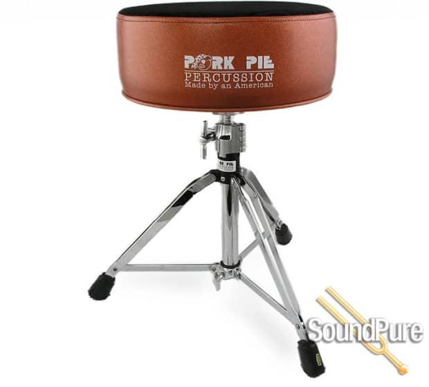 Pork Pie Drum Throne  Pork Pie Percussion Round Drum Throne Orange Black Swirl