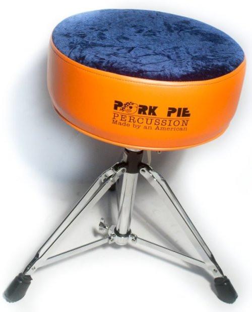 Pork Pie Drum Throne  Pork Pie Round Throne Standard Base Flat Orange Sides