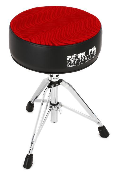 Pork Pie Drum Throne  Pork Pie Percussion Round Drum Throne Black with Red