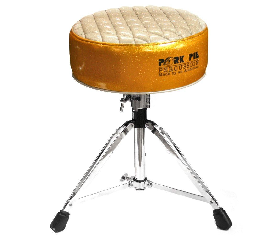 Pork Pie Drum Throne  Pork Pie Deuce Gold & Silver Drum Throne with Base – Drum Shop