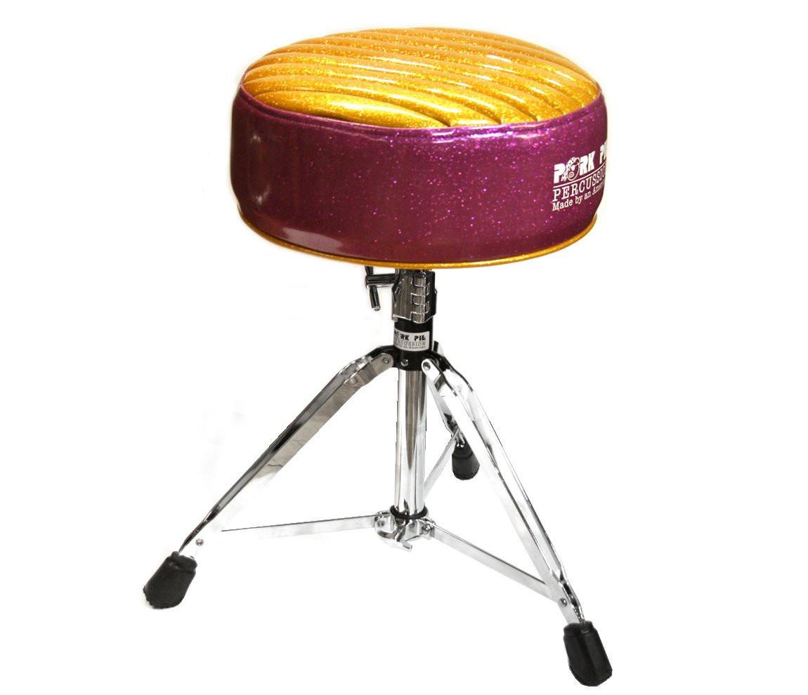 Pork Pie Drum Throne  Pork Pie Deuce Purple Gold Tuck & Roll Drum Throne with