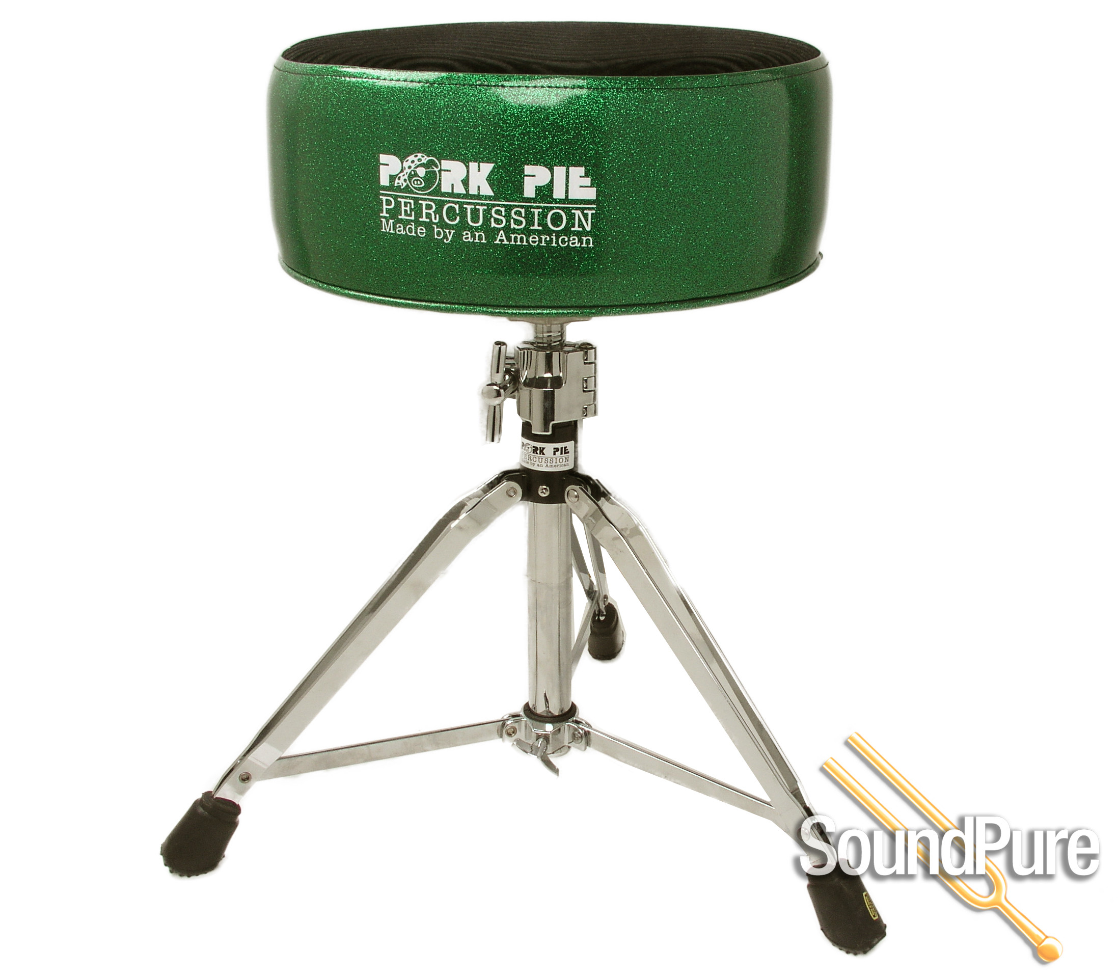 Pork Pie Drum Throne  Pork Pie Percussion Round Throne Green Sparkle Black Top