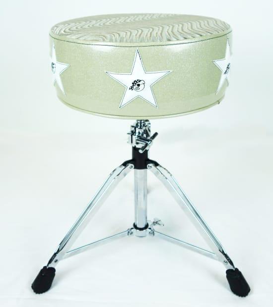 Pork Pie Drum Throne  Pork Pie Star Drum Throne White w White Stars