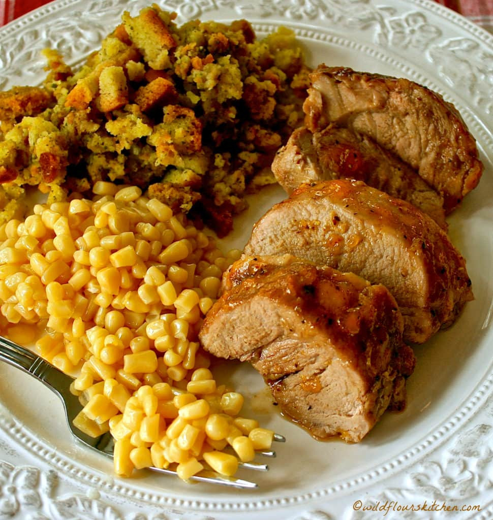 Pork Tenderloin Dinner  Easy Peachy Honey Mustard Roast Pork Tenderloin