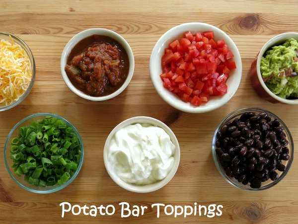 Potato Bar Toppings  Crock Pot Baked Potatoes and 20 Topping Ideas The