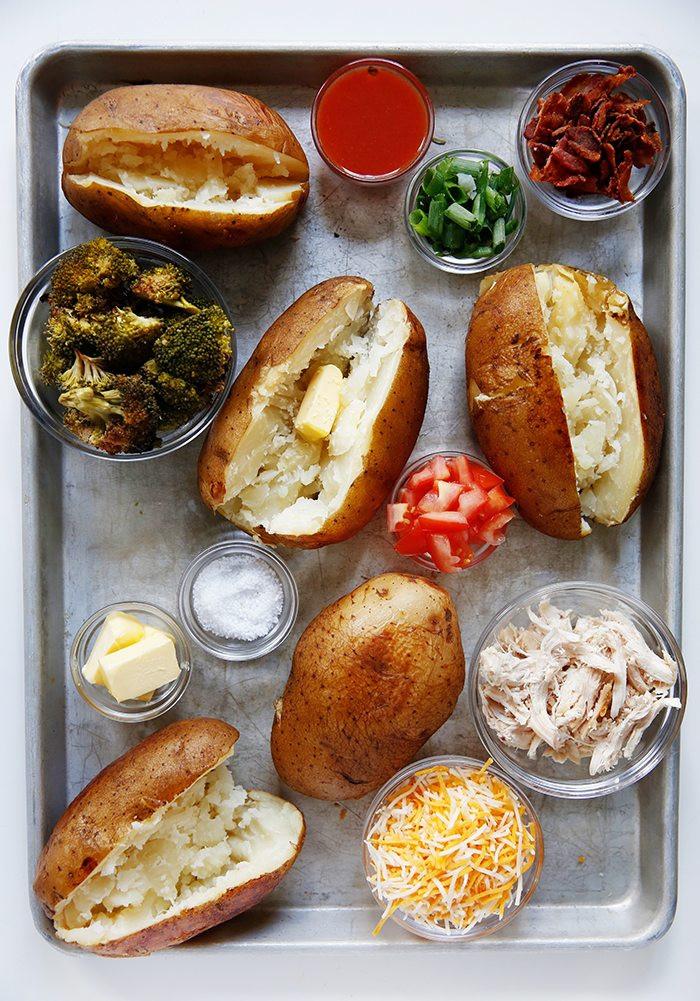 Potato Bar Toppings  Slow Cooker Baked Potato Bar Lexi s Clean Kitchen