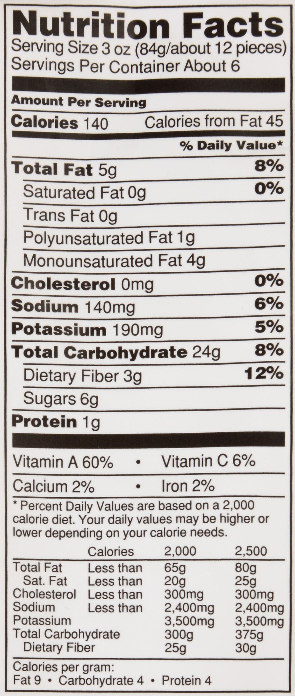 Potato Nutrition Data  alexia sweet potato fries nutrition label