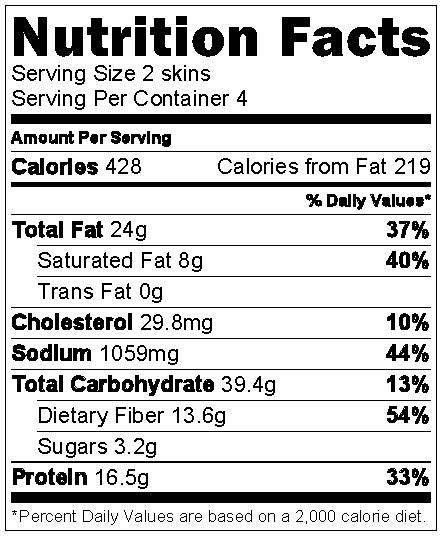 Potato Nutrition Data  Chipotle Black Bean Sweet Potato Skins