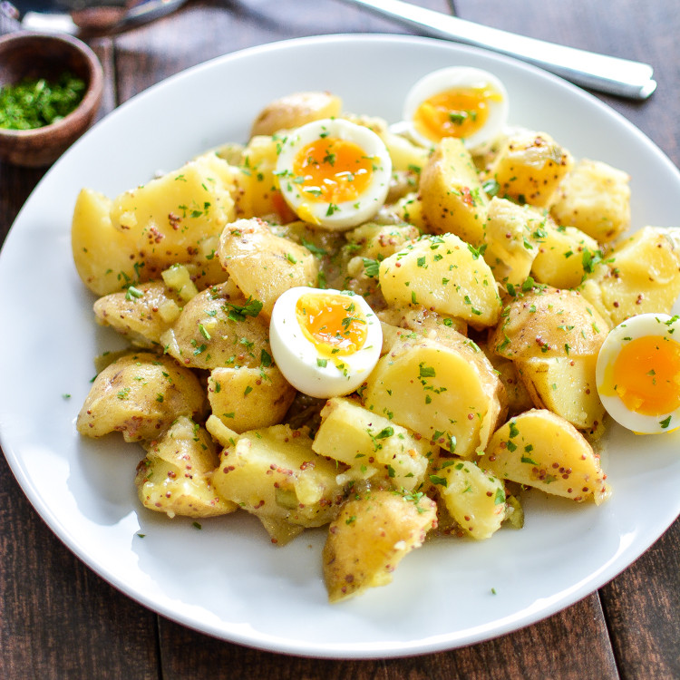 Potato Salad With Eggs  Potato Salad with Soft Boiled Eggs and Maple Mustard Dressing