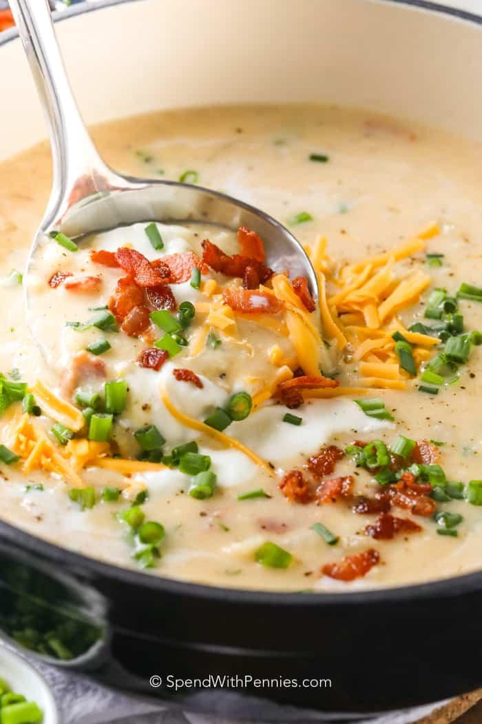 Potato Soup Recipe Easy  Baked Potato Soup Spend With Pennies