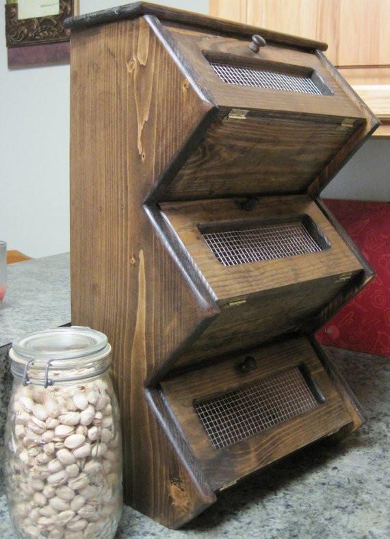 Potato Storage Bin  Rustic Ve able Bin Storage Cupboard Primitive Shelf ion